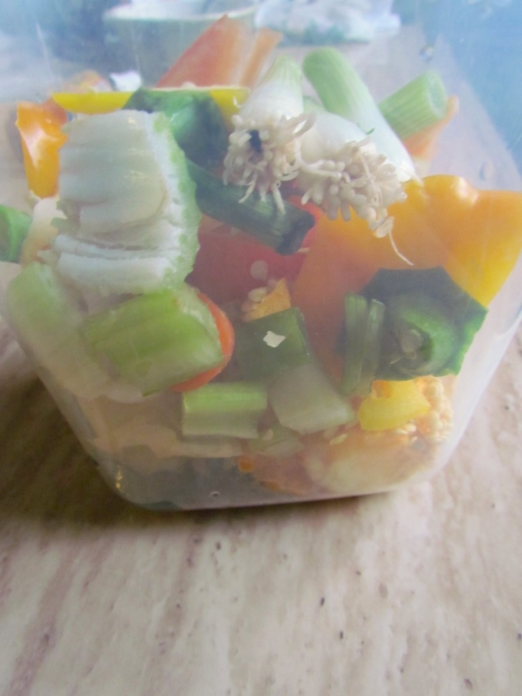 Vegetable Clippings in Plastic Container