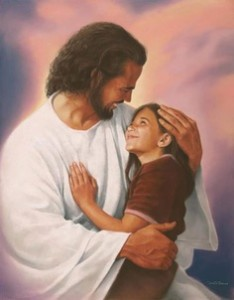 Jesus smiling while holding a girl