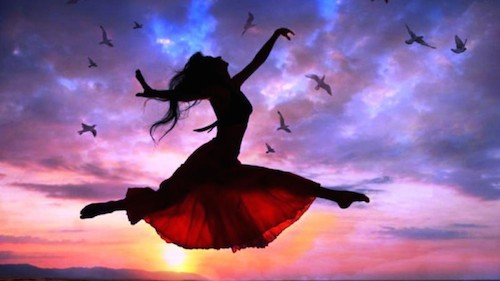 Girl Flying and Leaping