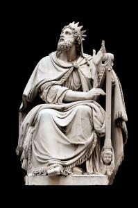 King David by Adamo Tadolini on the base of the Colonna dell'Immacolata Rome Italy